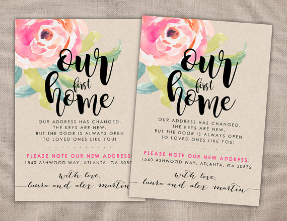 Our first home moving announcement address change card our first home moving announcement printable card invitation housewarming craft paper floral flowers modern rustic shabby chic stopboris Image collections