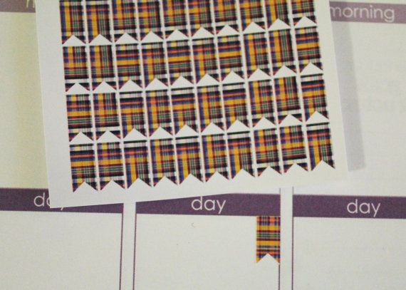 100 Plaid Page Flag Life Planner Stickers Scrapbook by AlexStudio