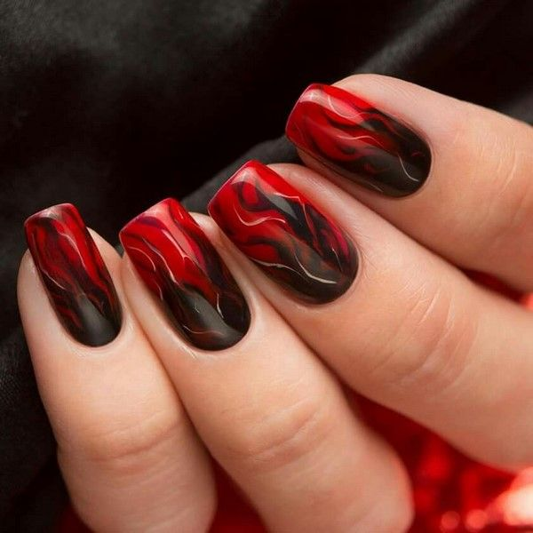 Creative Black And Red Manicure Marble Effect Red Nail Art Designs Red Nail Art Red Nail Designs