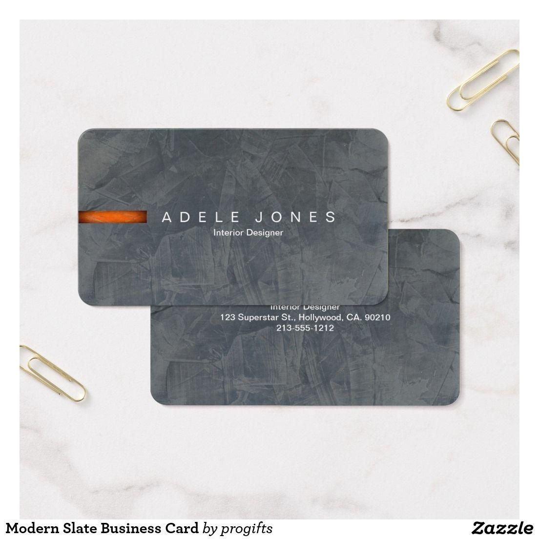 Modern Slate Business Card Zazzle Com In 2021 Painter Business Card Interior Designer Business Card Name Card Design