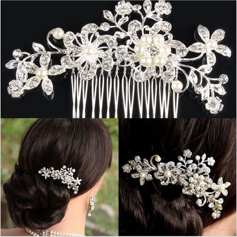 Bridal Wedding Flower Crystal Rhinestone Hair Clip Comb Pin Diamante Silver Hair Jewelry Hair Accessories