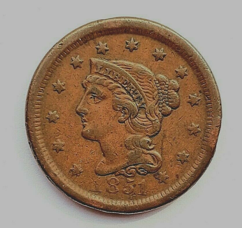 1851 Large Cent Braided Hair One Cent 1c Better Grade 9140 Good Grades Ebay Braided Hairstyles
