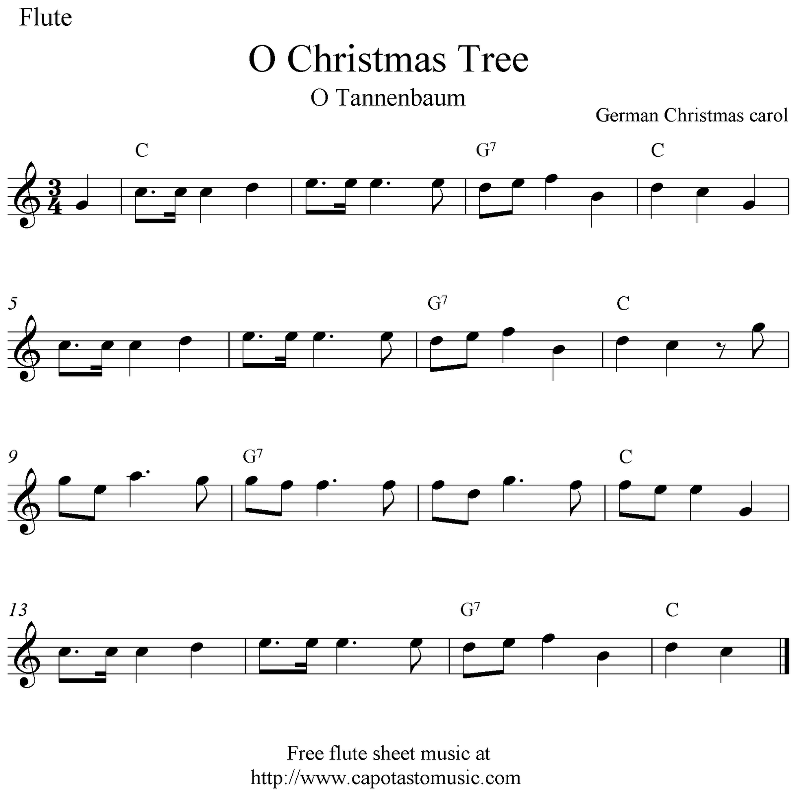 185 Best Images About Sheet Music On Pinterest: Flute Notes O Christmas Tree