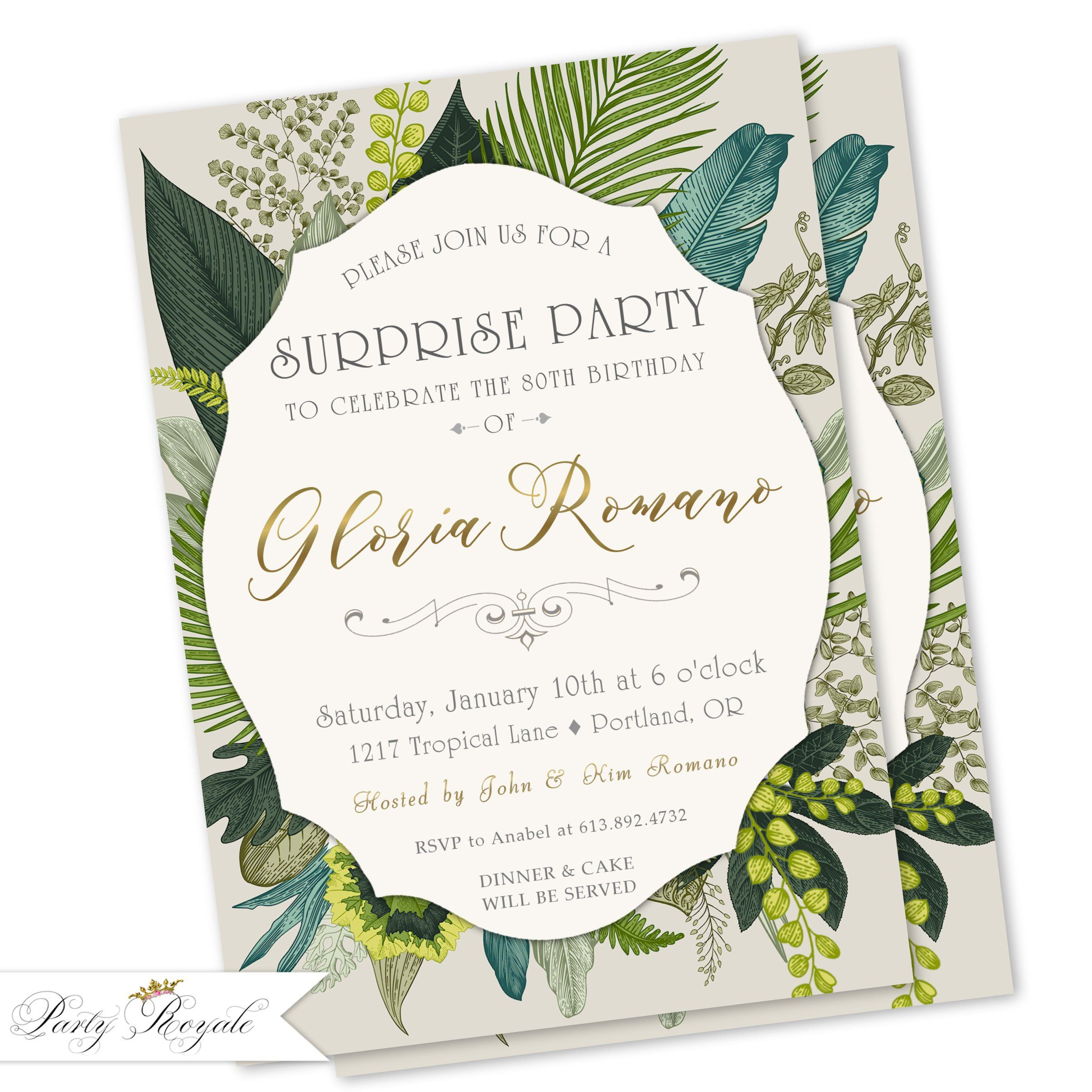 Tropical Surprise Birthday Invitations Women S 40th 50th 60th 70th