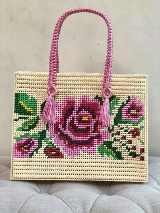 Bolsa canvas Flor mexicana   crochet bag 3   Pinterest   Flores ...
