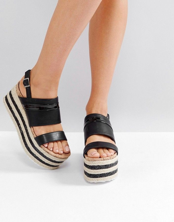 5110803f90a Glamorous Black Stacked Espadrille Flatform Sandals | Products ...