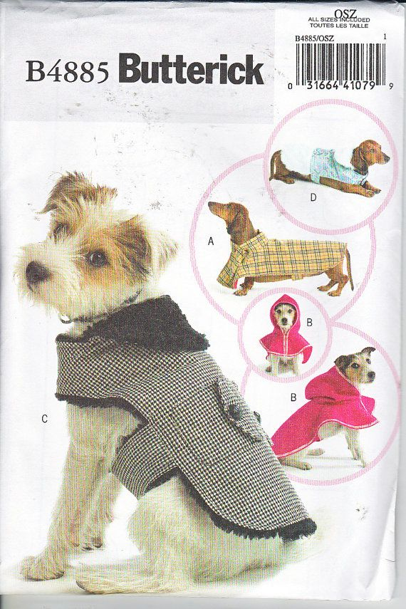 Butterick 4885 Dog Coats Dachshund Terrier Sewing Pattern 4 Sizes XS ...