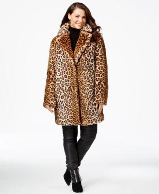 94e5e1f11b Calvin Klein Plus Size Animal-Print Faux-Fur Coat