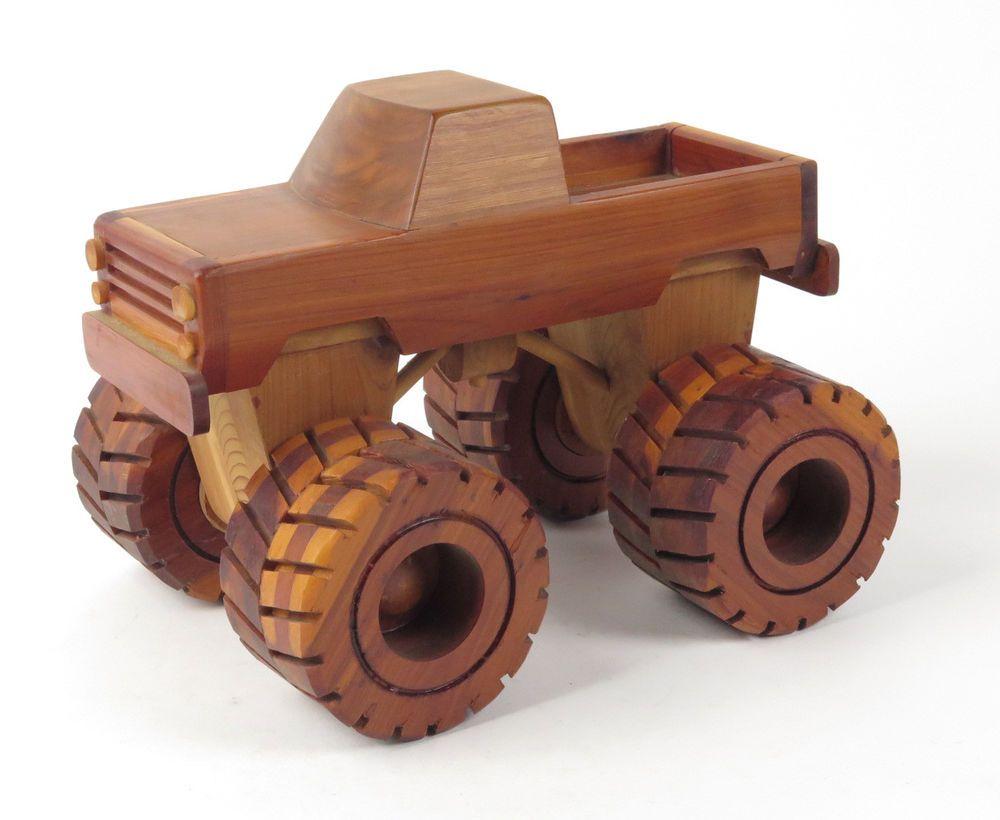 wood monster truck toy hand carved model #handmade #toys