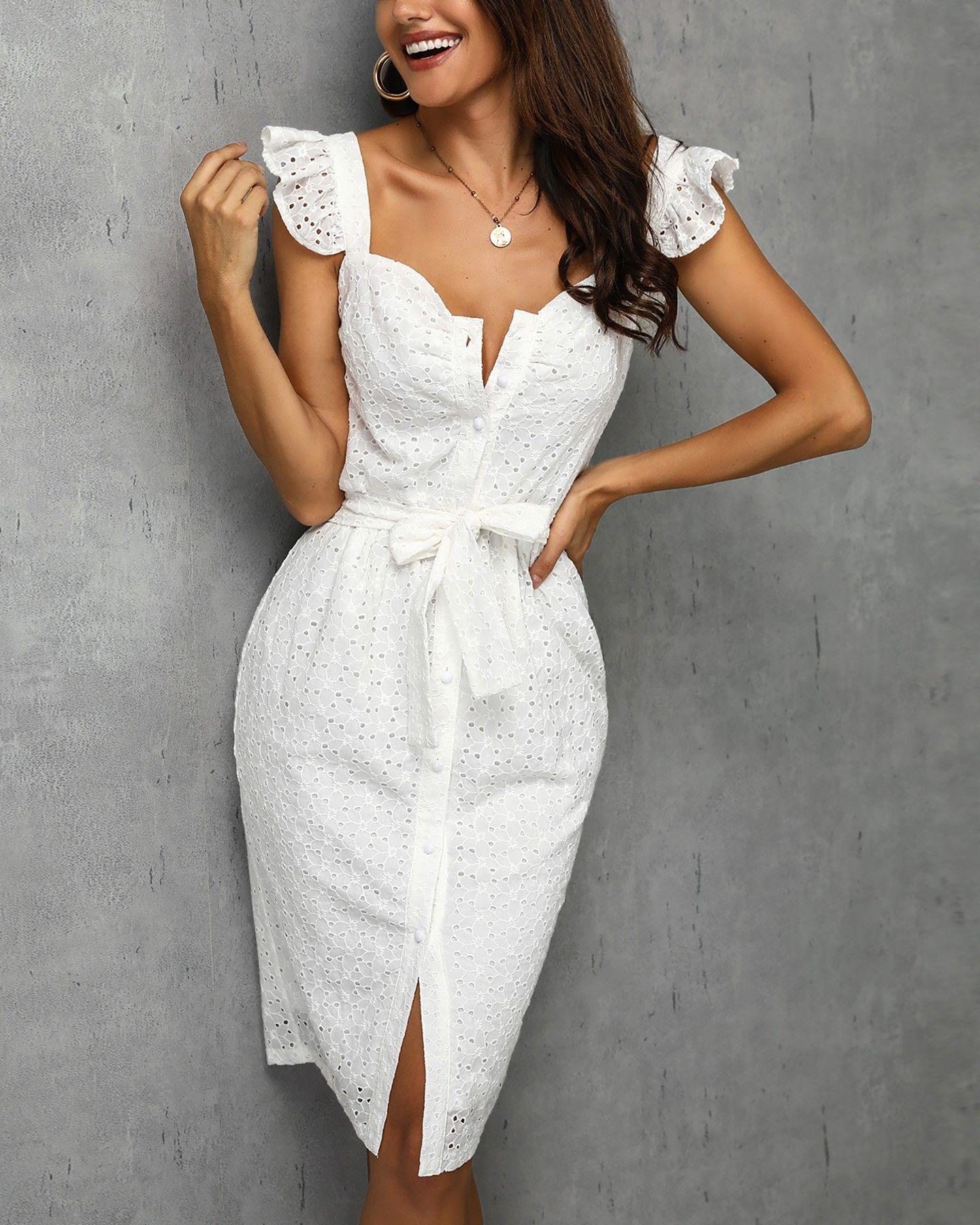 e069eb909adbc Hollow Out Ruffles Buttoned Dress #fashion #styles #clothes ...