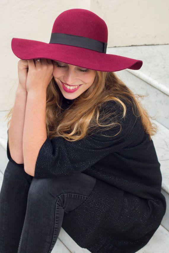 70 s Luxe Burgundy floppy hat in 100 percent wool by MuDuLondon 3f2de4b7aa8a