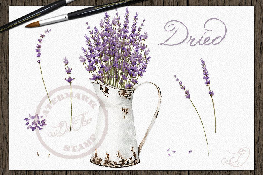Vintage Lavender Watercolor Clip Art , #sponsored, #vintage#flowers#clip#accessories #Ad #clipartfreebies