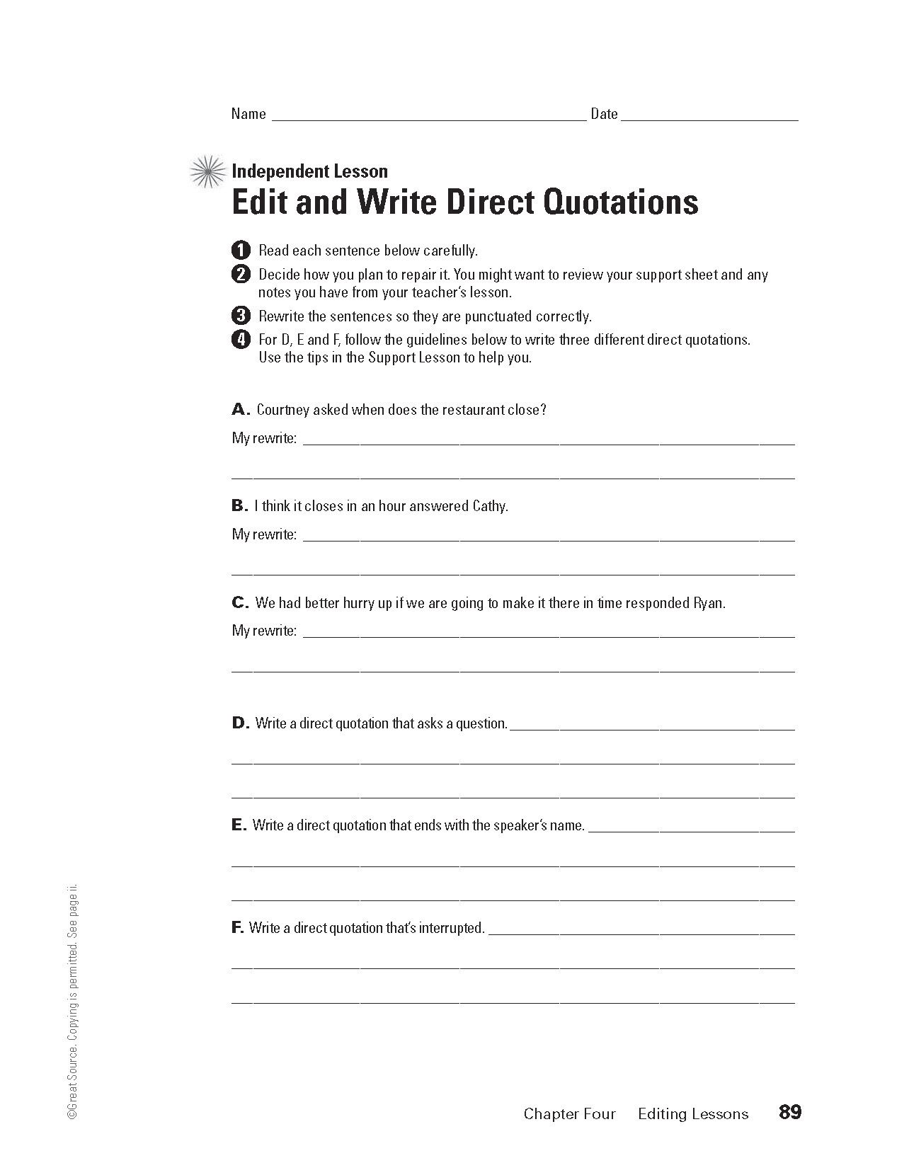 Editing Direct Quotations Grades 6 8 Download And Print