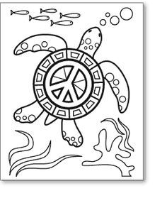 Image Result For Zentangle Peace Sign Turtle Coloring