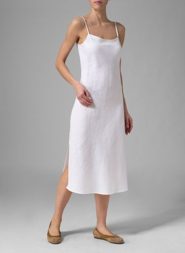 9641599248 Linen Sleeveless Bias Cut Dress