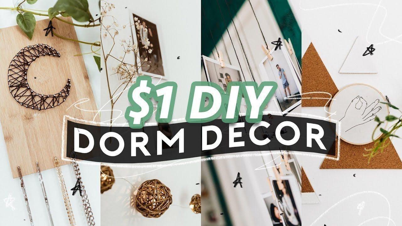 $1 DIY DORM ROOM DECOR (2018) ️ Super Easy + Aesthetic ...