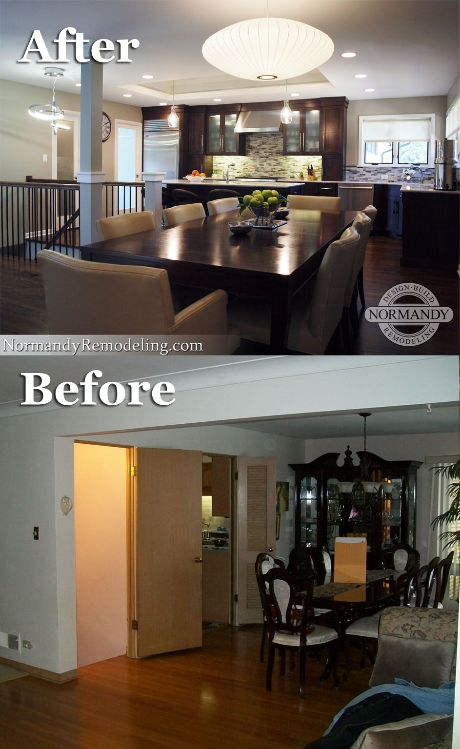 Ranch Style House Features Modern Aesthetics Normandy Design | Basement Stairs In Middle Of Kitchen | Open Plan | Square Shaped | Finished | Galley | Ranch
