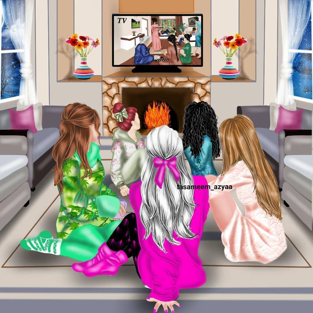 منو ميحب يتابع مسلسل وية جمعة البنات خوات او صديقات ويامحلى هالكعدات رايكم Cute Girl Drawing Cartoon Girl Images Digital Art Girl