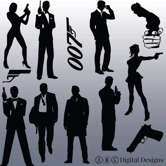 this listing is for an instant download for 12 james bond silhouette images as shown