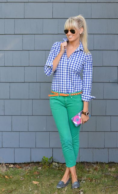 Mix country plaid with a pop of color for your pants for a great look!