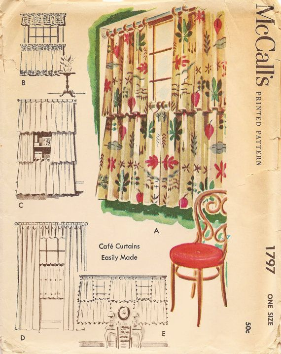 Vintage Sewing Pattern 1953 Curtains Mccall S 1797 Curtain Sewing Pattern Mccalls Sewing Patterns Curtain Patterns