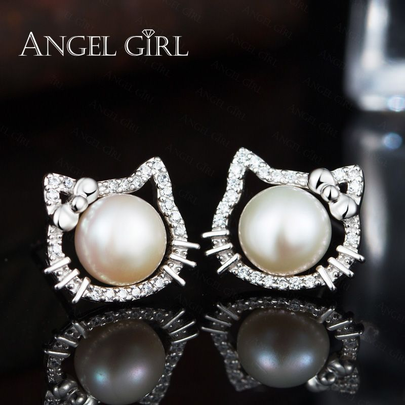 a57629600 Angel Girl Popular White Hello Kitty Stud Earrings With Natural Big Round  Pearl Of 925 Sterling Silver Jewelry For Women