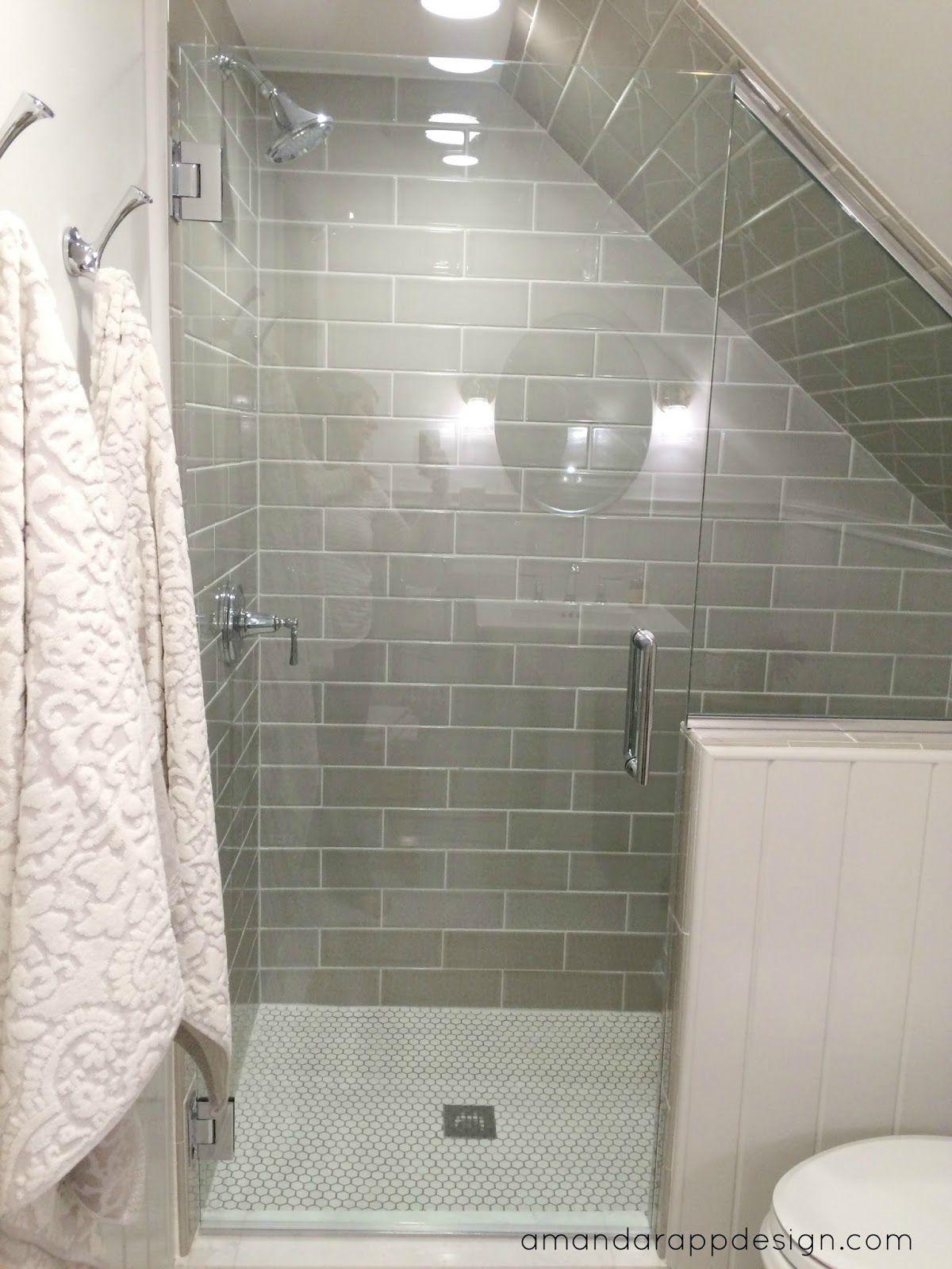 Slanted ceiling, Taupe Subway Tile, Halfwall, Glass Door ...