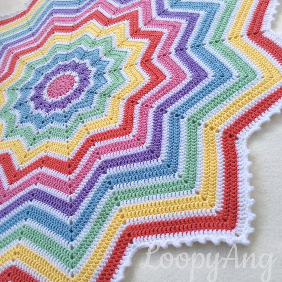 Crochet Rainbow Baby Blanket 12 Pointed Star Afghan Colourful