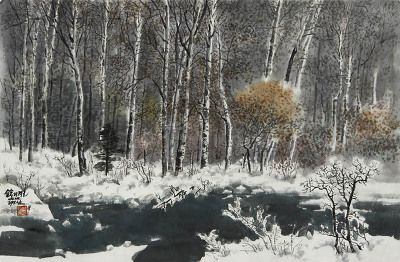 (North Korea) Schmidt Birch by Lee Gyeong-nam (1945-  ). Korean watercolor painting.