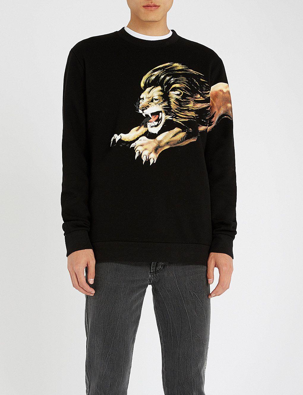9f8cc571d30 GIVENCHY - Lion-print cotton-jersey sweatshirt | Selfridges.com ...