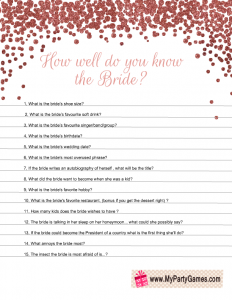 How Well Do You Know The Bride Free Printable Bridal Shower Game