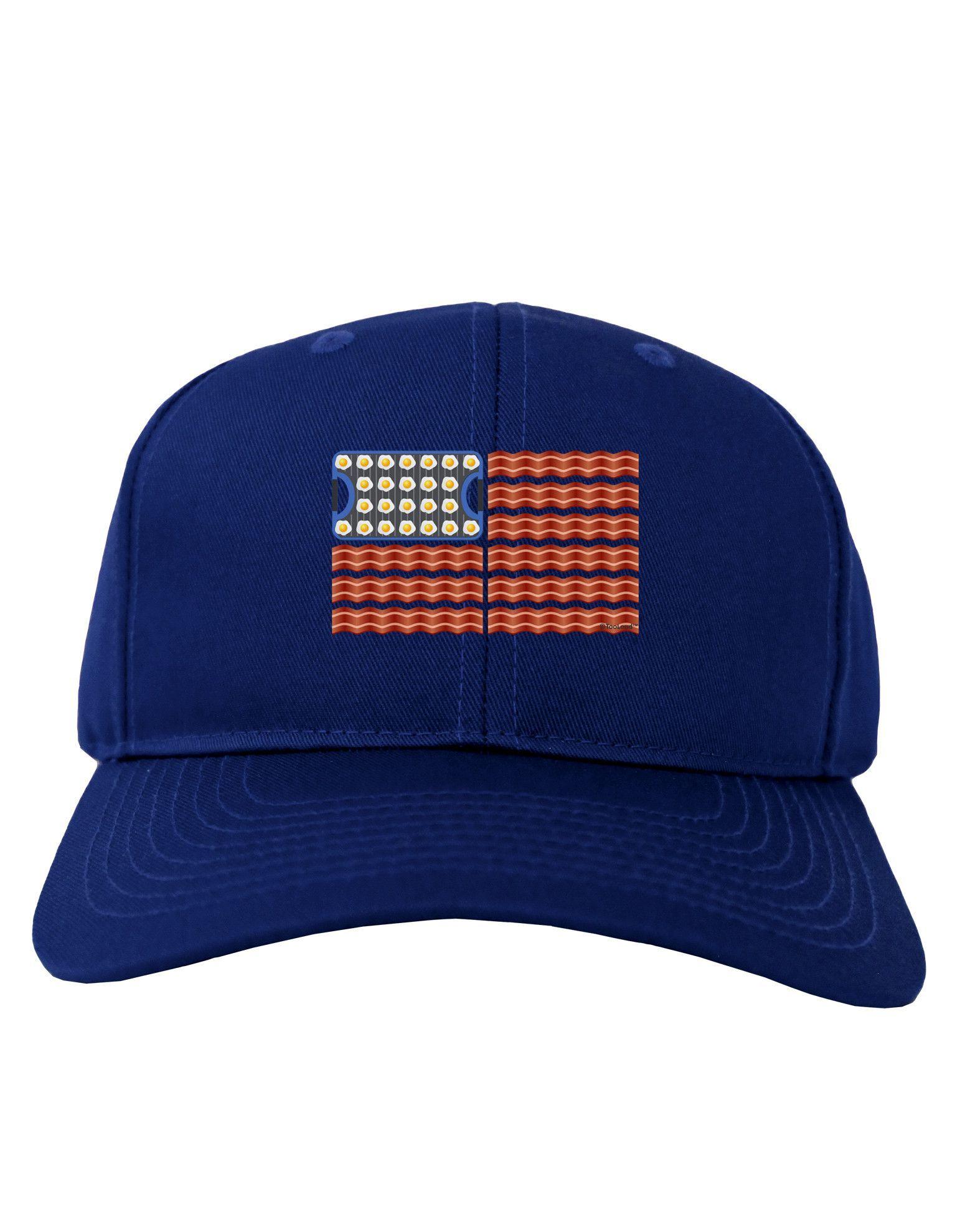 TooLoud American Breakfast Flag - Bacon and Eggs Adult Dark Baseball Cap Hat