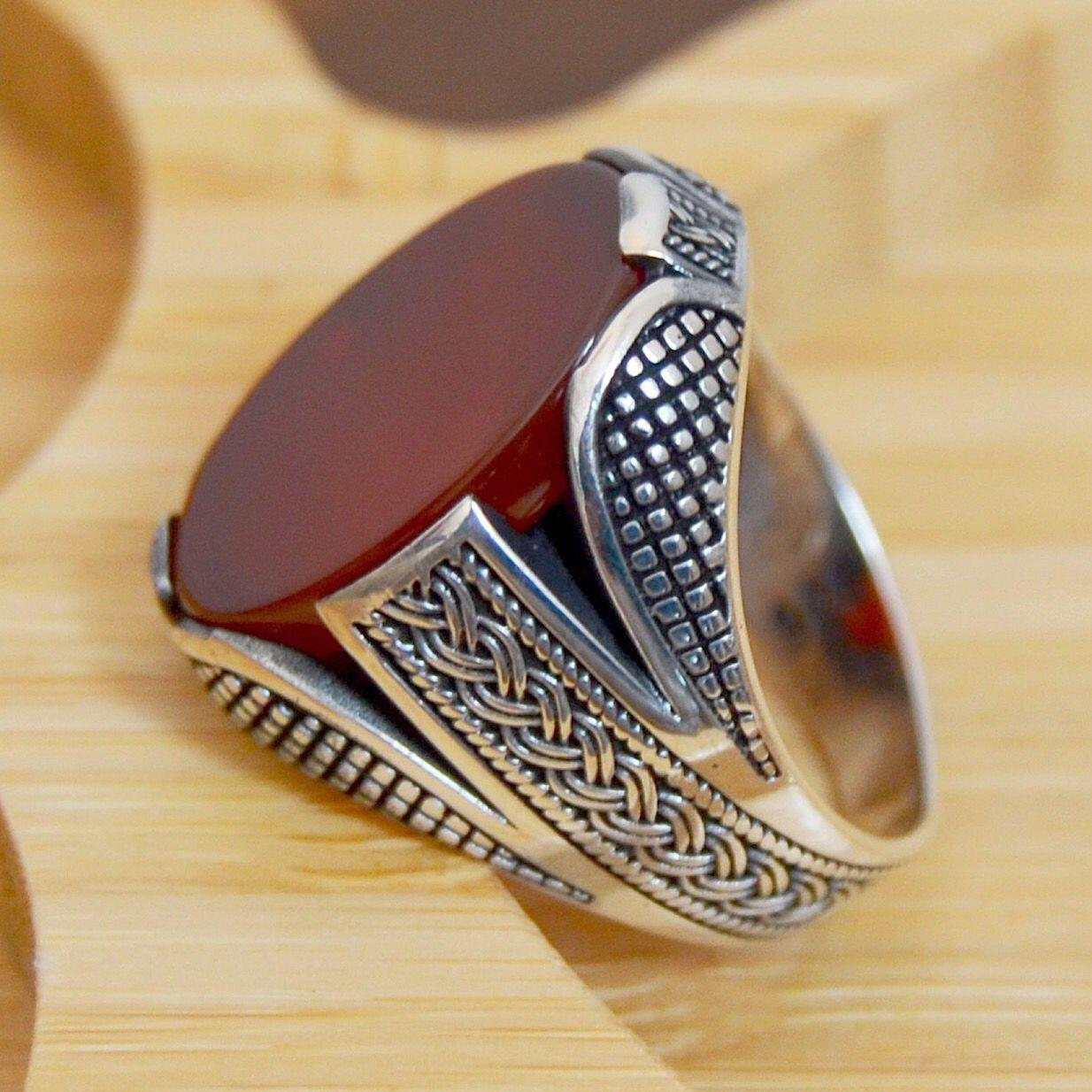 Mens Handmade Ring, Turkish Handmade Silver Men Ring