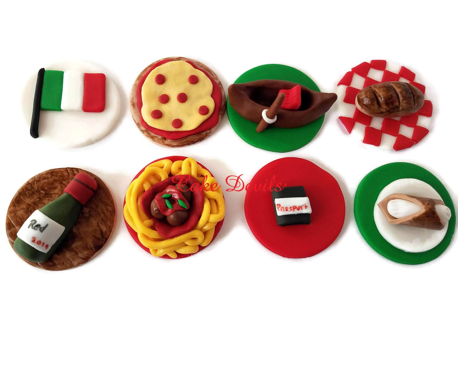 Italian Themed Cupcake Toppers Fondant Cake Decorations Italy Party Bottle Of Wine Cake Decorating With Fondant Fondant Cake Toppers Fondant Cupcake Toppers