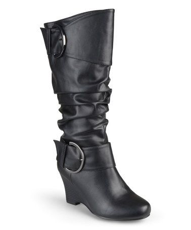Another great find on #zulily! Black Meme Extra Wide-Calf Wedge Boot #zulilyfinds