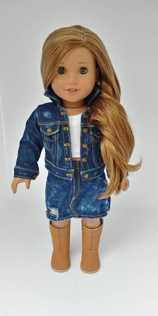 Fits like American girl doll clothes .18 inch doll clothes. 18 inch doll clothing. Denim jean skirt #girldollclothes