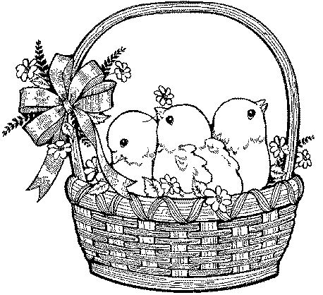 Large Easter Baskets Clip Art With Images Easter Colouring