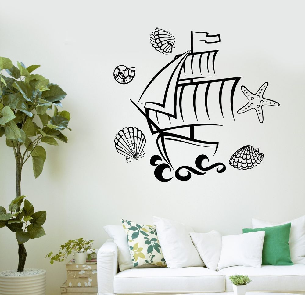 Details about wall decal ship marine bathroom decor kids room details about wall decal ship marine bathroom decor kids room starfish vinyl stickers ig3020 amipublicfo Image collections