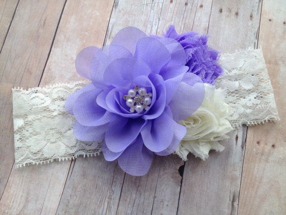 Lavender and Ivory Chiffon and Lace Baby by SweetFlowersBoutique