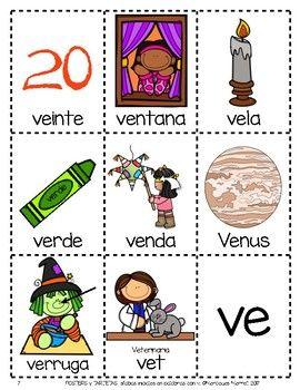 Posters Y Tarjetas De Silabas Iniciales En Palabras Con V En Espanol Spanish Language Arts Spanish Activities Word Cards