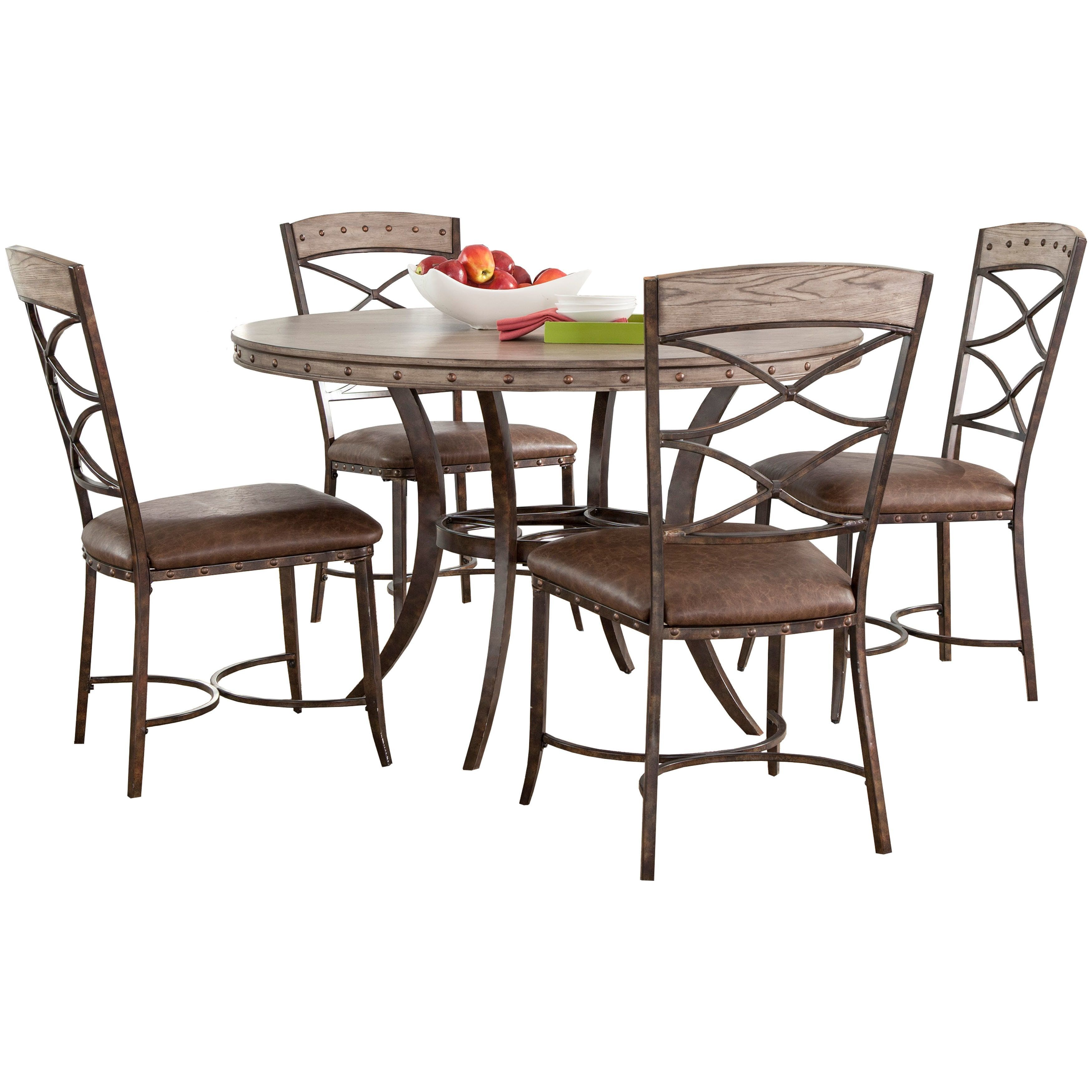 Hillsdale Furniture Emmons 5 Piece Round Dining Set in Washed Finish