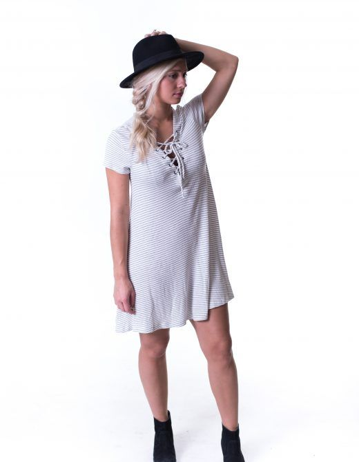 Could there be any more amazing things in one dress!?!? LACE UP, RIBBED, and STRIPES  Shop it now from britain&brooks