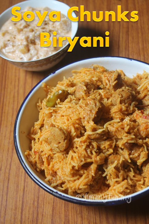 Soya Chunks Coconut Milk Biryani