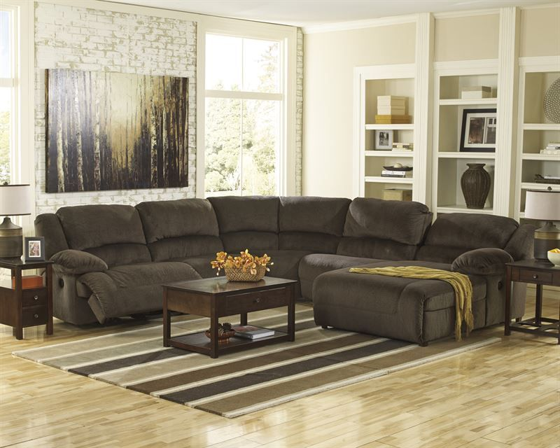 Toletta Chocolate Sectional   Living Room Furniture - Ham ...