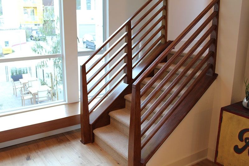 Contemporary Railings Hci Railing Systems Staircase Design   Horizontal Wood Stair Railing   Wrought Iron   Cherry Wood   Steampunk   Rustic   Wooden