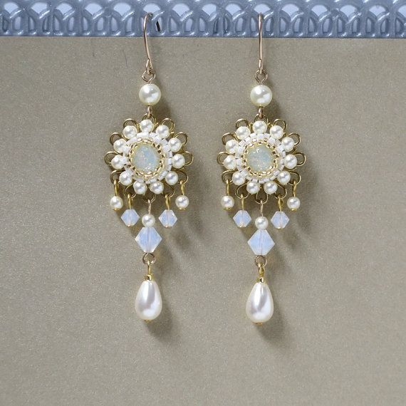 Wedding Earrings Bridal Vintage Pearl Chandelier