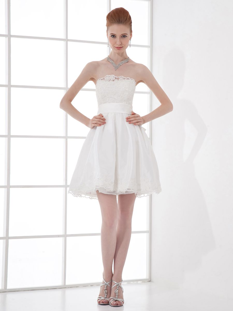 Name brand wedding dresses  Strapless Lace over Satin A Line Mini Party Dress with Sash Brands