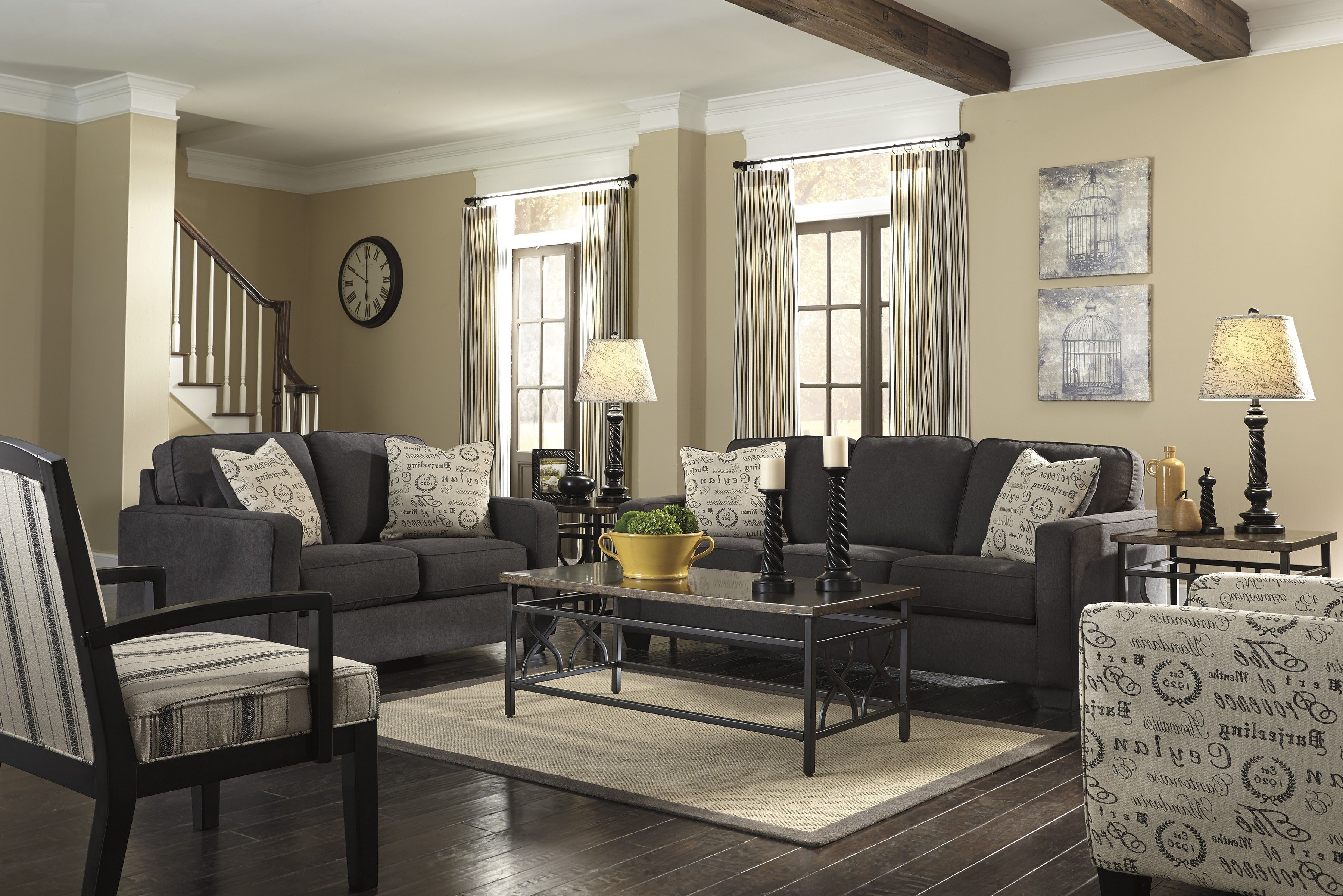 beige walls grey couch  charcoal living rooms living