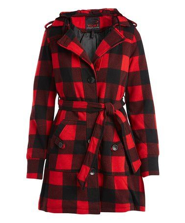 This Red & Black Buffalo Check Hooded Trench Coat - Plus Too is perfect! #zulilyfinds