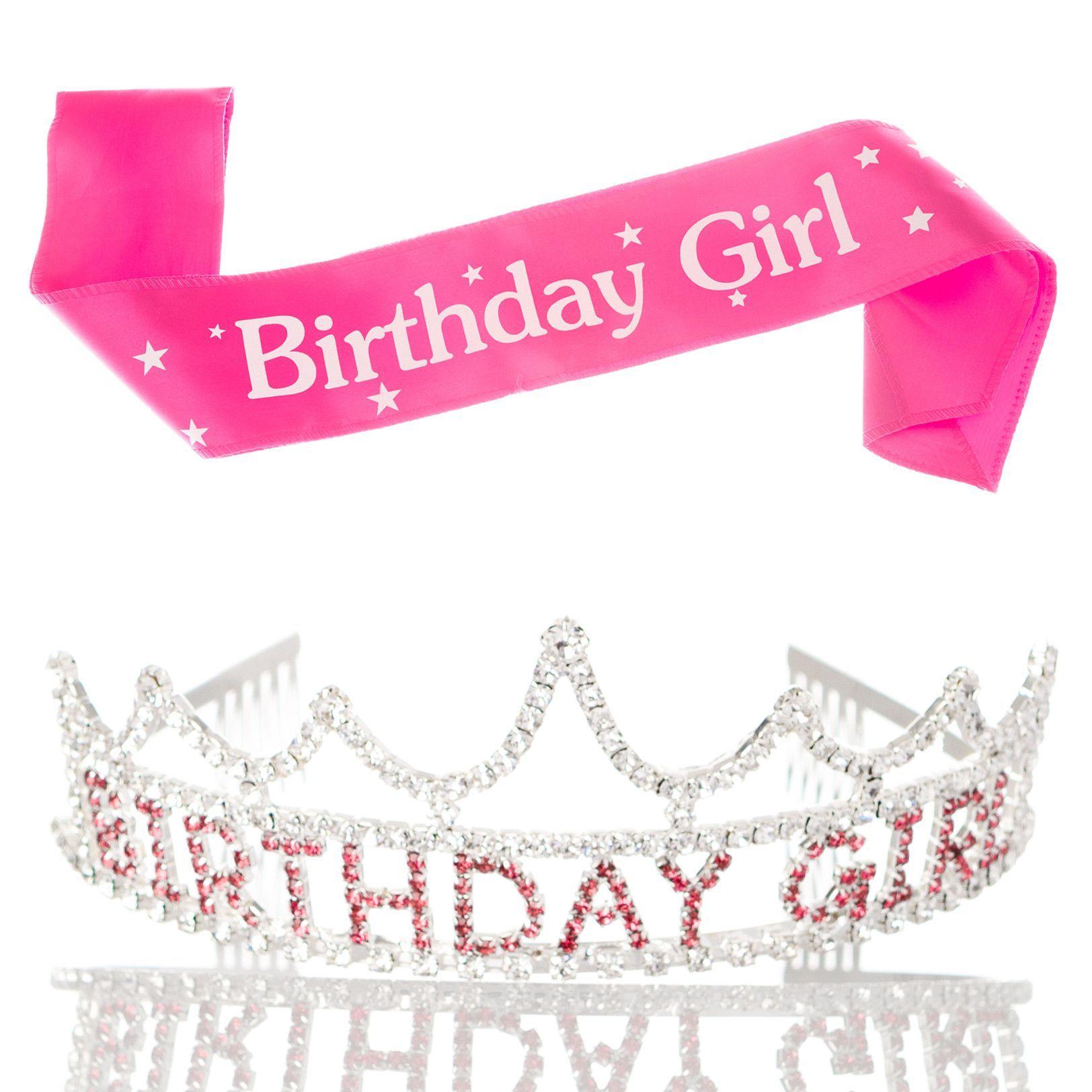 Rose Gold Birthday Girl Crown Tiara Headband Headpiece Happy Birthday Girl